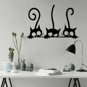 "Wall Art - CAT WALL STICKER - 3 Cats Decoration 12""x8"" Art"